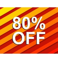 Red striped sale poster with 80 PERCENT OFF text vector image