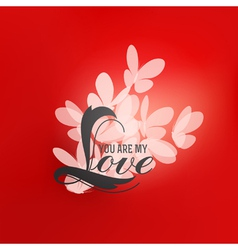 Romantic design with love lettering and butterfly vector