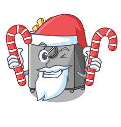 Santa with candy deep fryer machine isolated on vector