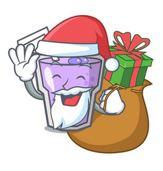 Santa with gift berry smoothie mascot cartoon vector