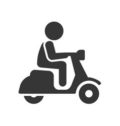 scooter driver stick figure man icon on white vector image