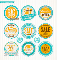 set retro vintage blue and yellow labels and vector image