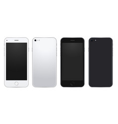 Set silver and black mobile phone template vector
