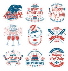 set vintage 4th july design fourth july vector image