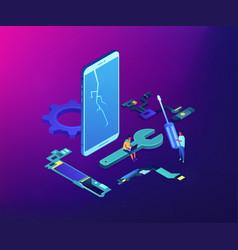 Smartphone repair concept isometric vector