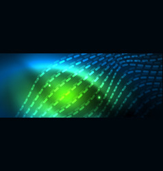 smooth wave lines on blue neon color light vector image