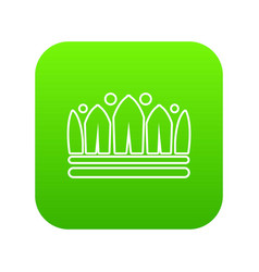 Snow crown icon green vector