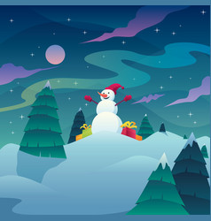 snowman christmas landscape vector image