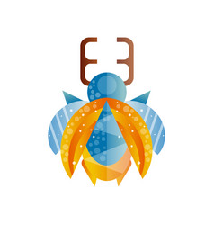 stag beetle with blue and orange wings original vector image