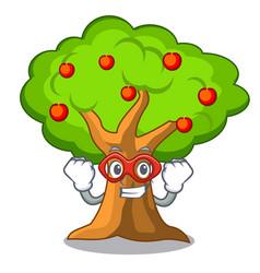super hero apple tree full of isolated mascot vector image