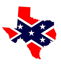 Texas map and confederate flag vector