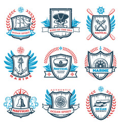 vintage colored nautical emblems set vector image