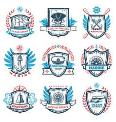 Vintage colored nautical emblems set vector