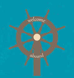 vitage poster with ship wheel vector image