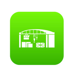 warehouse for loading icon green vector image