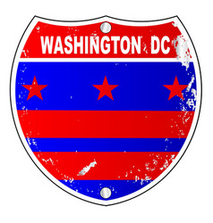 Washington dc flag icons as interstate sign vector