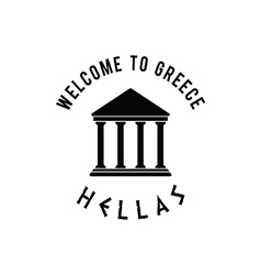 Welcome to greece with icon hellas in black vector