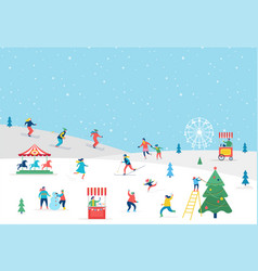 Winter sport scene greeting card vector