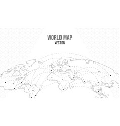 world map empty template with globe city network vector image