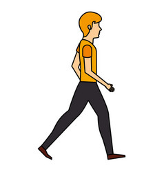 young man walking character vector image