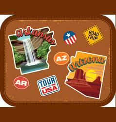 arkansas arizona travel stickers vector image