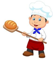 Cartoon a baker with bread vector image vector image