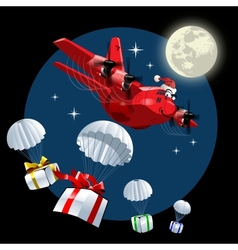 Cartoon Christmas Cargo Airplane vector image vector image