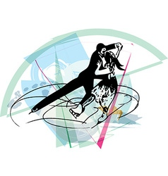 couple ice skaters skating at colorful sports vector image vector image