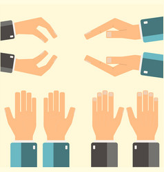 hands icons set flatddesign vector image vector image