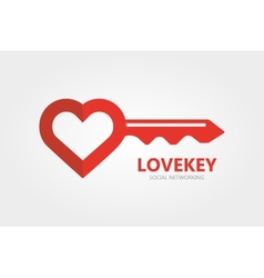 Logo combination of a key and heart vector image