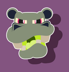 Paper sticker on theme evil animal hippo vector