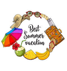 round frame of summer time vacation attributes vector image vector image