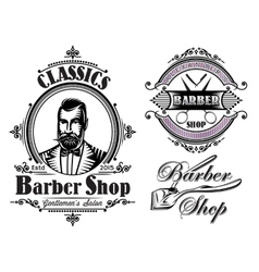 set of emblems on a theme barber shop vector image vector image