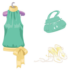 Set of lady s accessories icons isolated objects vector