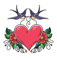 swallows carry red heart decorated with flowers vector image vector image