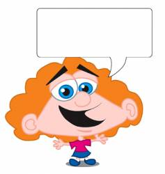 cartoon girl and speech bubble vector image