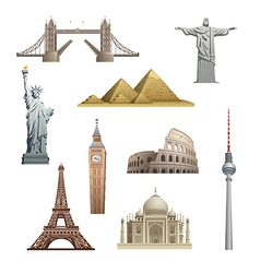 different famous landmarks vector image vector image