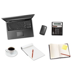laptop and coffee and notepad telephone vector image vector image