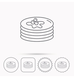 Pancakes icon American breakfast sign vector image vector image