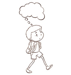 A plain sketch of a student thinking vector image