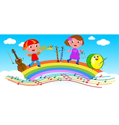 Cartoon musical instruments and children vector image