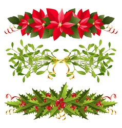 Christmas floral borders vector image