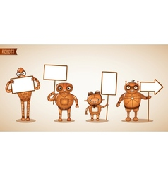 Icons of intelligent machines holding signs vector image