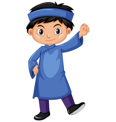 vietnam boy in blue outfit vector image vector image