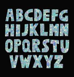 blue glitter sparkling font vector image
