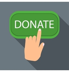Hand presses button to donate icon flat style vector image