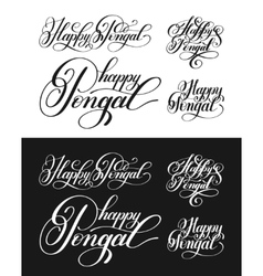 happy pongal handwritten ink lettering inscription vector image