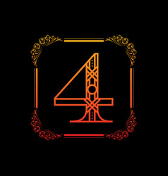 number 4 with ornament vector image vector image