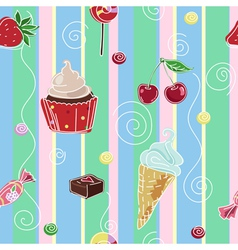 Seamless background with sweets and cupcake vector image vector image