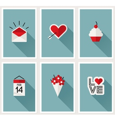 Set of romantic Valentines day symbols vector image vector image